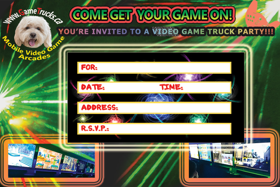 GT video game party invitation