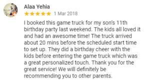 Customer testimonial on Google on March 1 2018